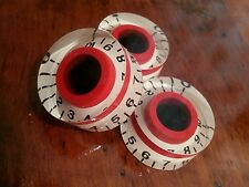 3 Guitar speed volume/tone knobs.. Black/Red/White. JAT CUSTOM GUITAR PARTS