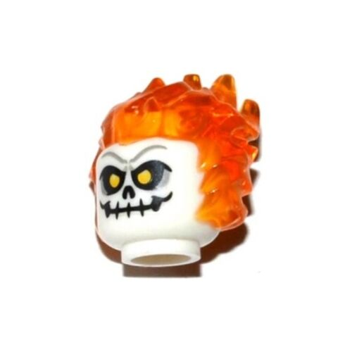 Minifig Head with Trans Orange Flaming Hair and Skull with Yellow Eyes LEGO