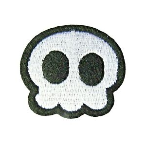 Comic Skull Iron On Patch Goth Rock Punk Motif Badge Applique 4.5cm x 4cm P055