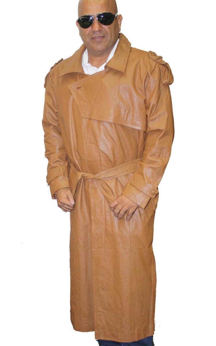 Herren Braun Genuine Leder Trench Coat Full Length Zip out Lined Buttons Closure