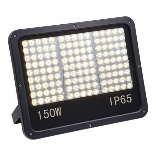 150W SMD Outdoor LED Flood Light 3500K Warm White IP65 Black Waterproof