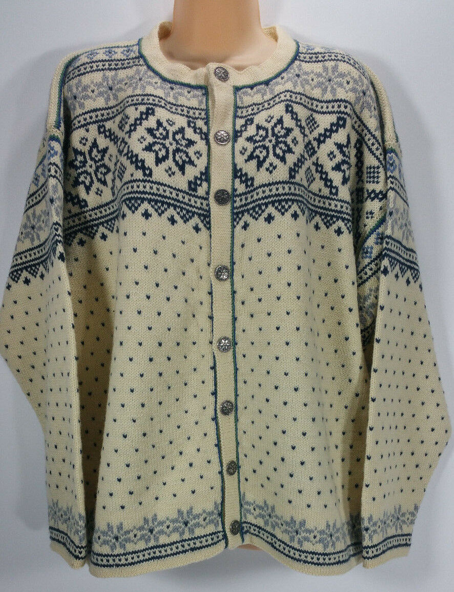 Dale of Norway Womens XL Nordic bluee Cream Wool Cardigan Sweater Button Front