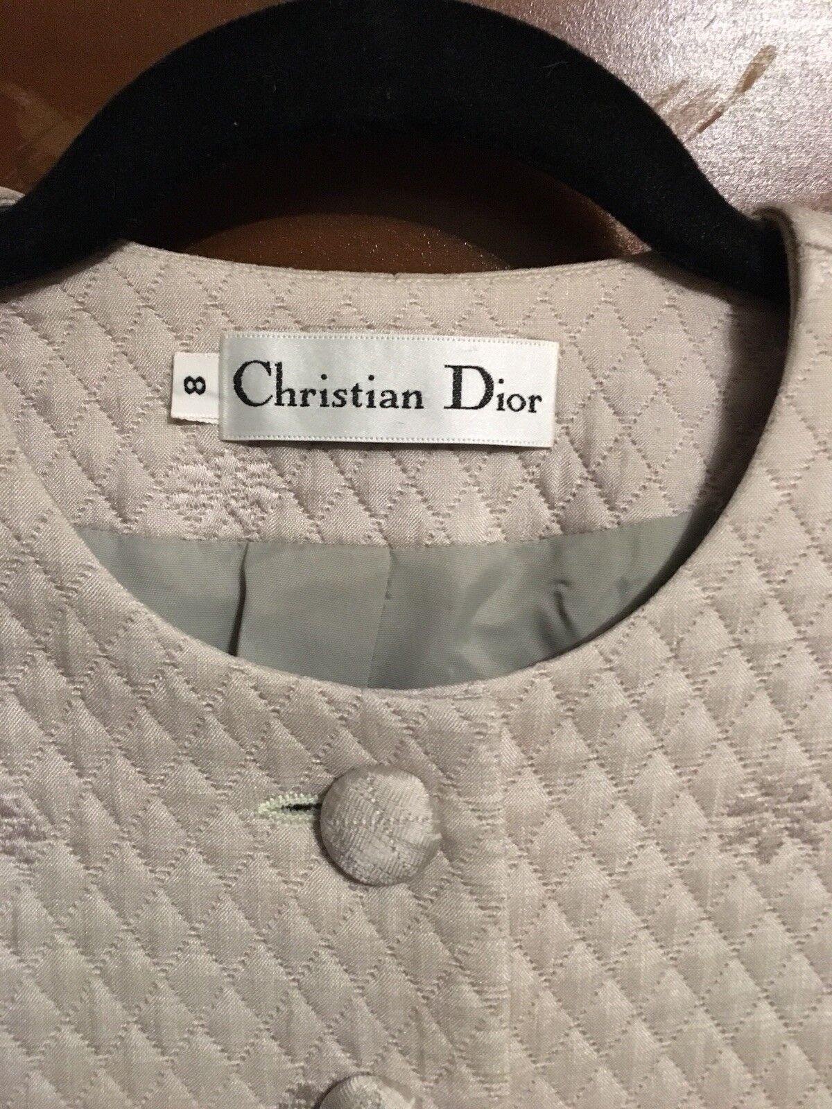 Christian. Dior matelassé Größe 8 SAGE Blazer Jacket