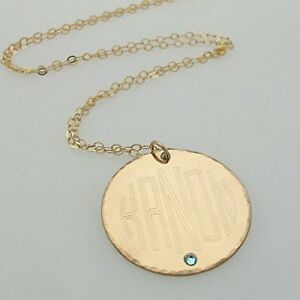 f30233ec3773b Details about Large Disc Monogram Necklace - Gold Filled Jewelry -  Personalized Initials Charm
