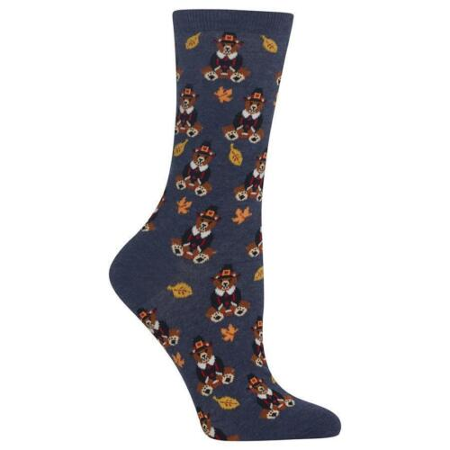 Pilgrim Thanksgiving Teddy Bear Socks Casual Crew Women/'s Novelty Blue Heather