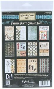 "Splash of Color Fashion Plate Collage Pack 12 Art Paper Designs 5 3/4"" x 8 7/8"""