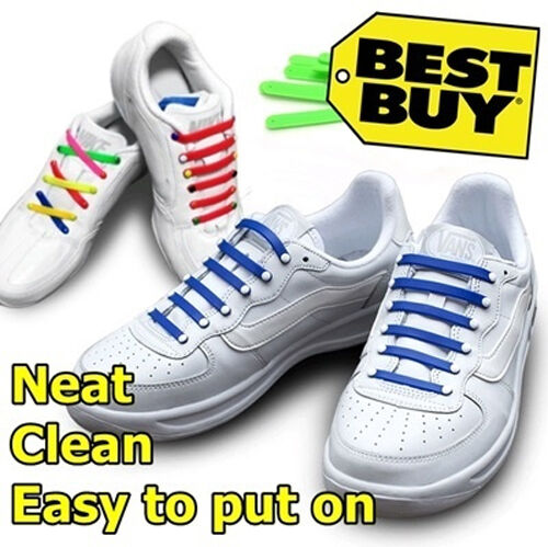 BLUE No tie shoe laces anchor no tying pull lock Kool silicon one size fit all