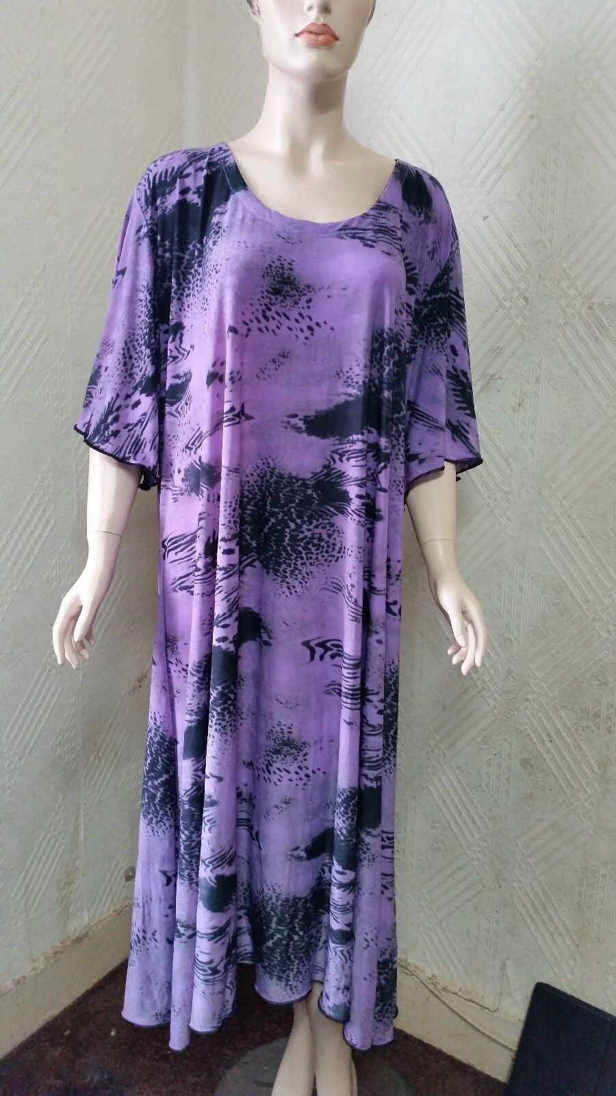 Plus Size 30-32 Christmas Party Purple Quirky Party Maxi Dress fit 5XL to 6XL