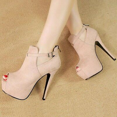 Women's High Heel Platform Stilettos Ankle Boots Buckle Opened Toe Suede Shoes