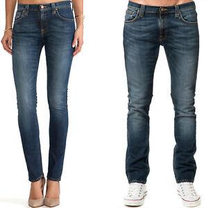 Nudie-Damen-Herren-Unisex-Skinny-Fit-Roehren-Stretch-Jeans-Tube-Tom-Blue-Nights