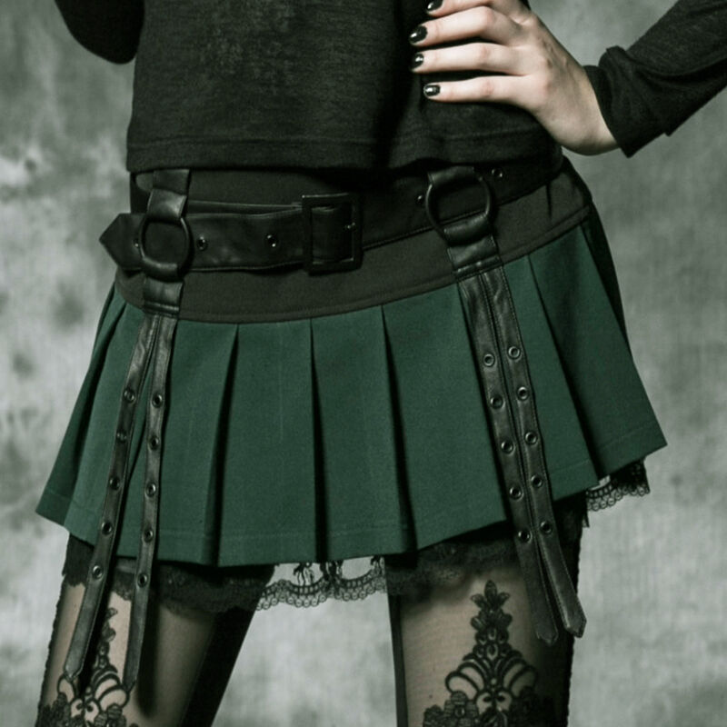 Mini jupe plissée dentelle gothique lolita écolière sangles ceinture Punkrave V