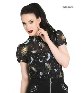 Hell-Bunny-50s-Shirt-Top-Gothic-Black-Sun-Moon-Stars-SOLARIS-Blouse-All-Sizes