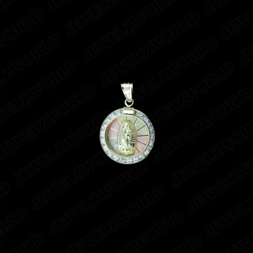 10K Gold Virgin Mary Lady of Guadalupe Round CZ Charm Pendant /& 2mm Rope Chain