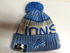 25701baf619 Detroit Lions New Era Knit Hat On Field 2017 Sideline Beanie ...