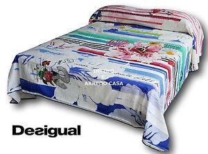 DESIGUAL-Copriletto-BLUE-SUMMER-61LL0A3-100-Cotone-Matrimoniale-2-piazze