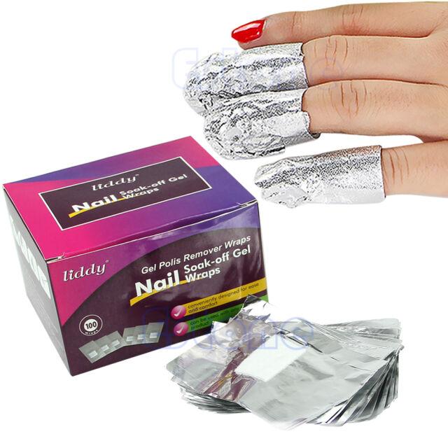 100pcs Aluminium Foil Nail Art Soak Off Acrylic Gel Polish Nail Wraps Remover