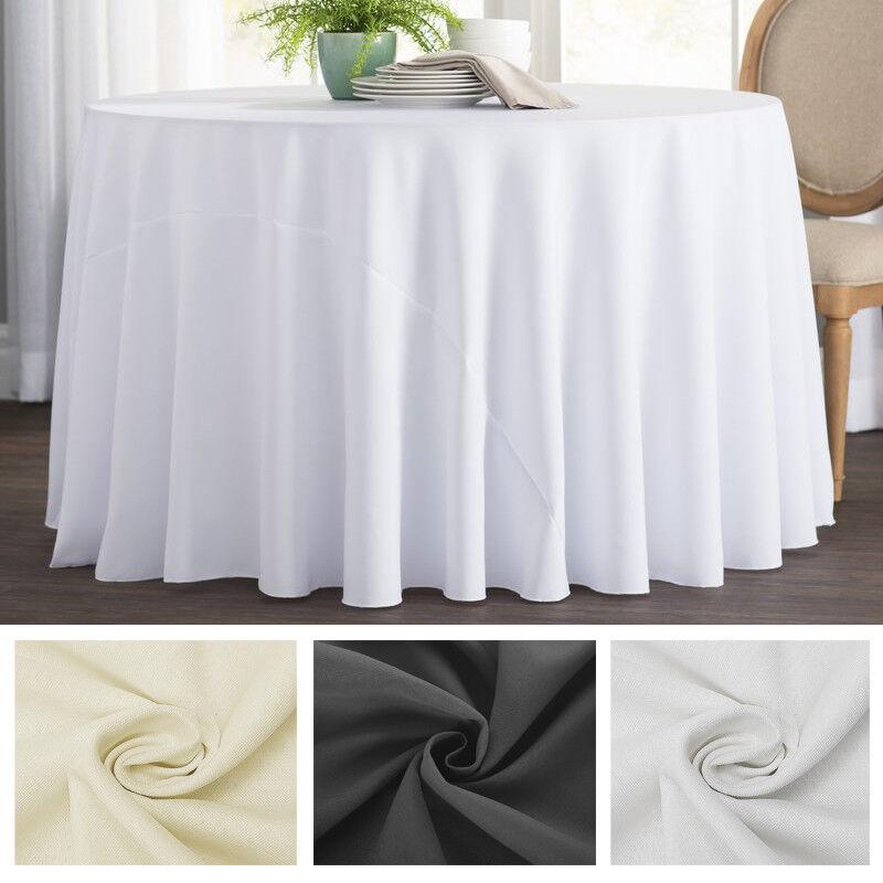 10 Pièces Blanc Noir Ivoire Nappe Table Polyester Rond Mariage Maison Fêtes