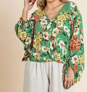 Umgee-Top-2X-Green-Asian-Floral-Tie-Dolman-Sleeve-Boho-Peasant-Plus-Size