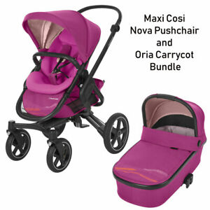 Brand New Maxi Cosi Nova Pushchair Stroller & Oria Carrcot in Pink RRP:£645