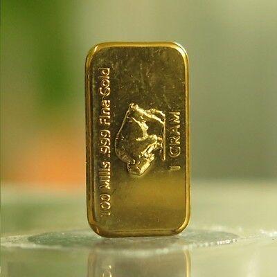 1 gram 1g USA American Buffalo 100 Mills .999 Fine Gold Plated Bar 5