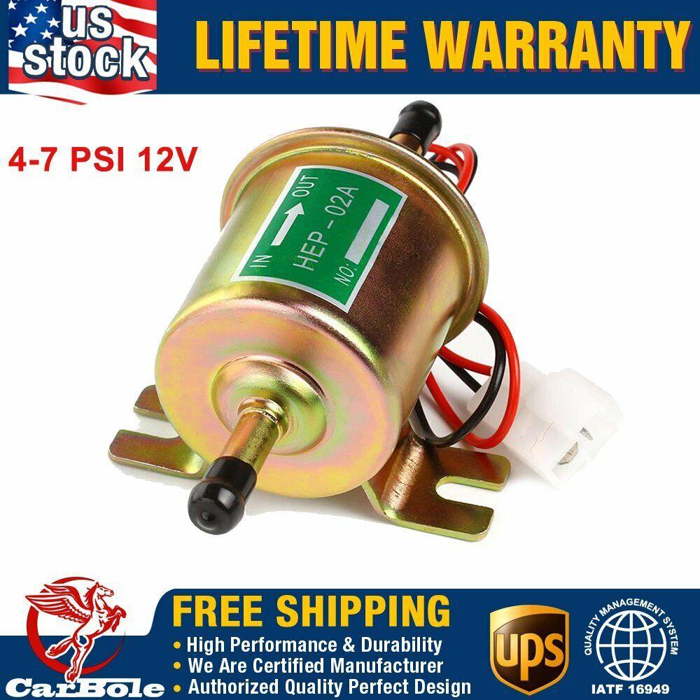Universal HEP-02A Fuel Pump Electric Gas Diesel Inline Low Pressure 12V Gold PSI