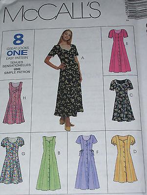 8629 UNCUT Vintage McCalls Pattern 8 Great Looks Misses Dress SEWING OOP NEW SEW