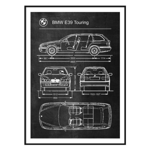 BMW E39 Touring Poster Car Retro Vintage Blueprint Art
