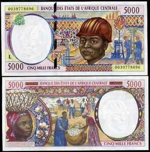 GABON CENTRAL AFRICAN STATE 5000 FRANCS 2000 P 404 L AUNC ABOUT UNC