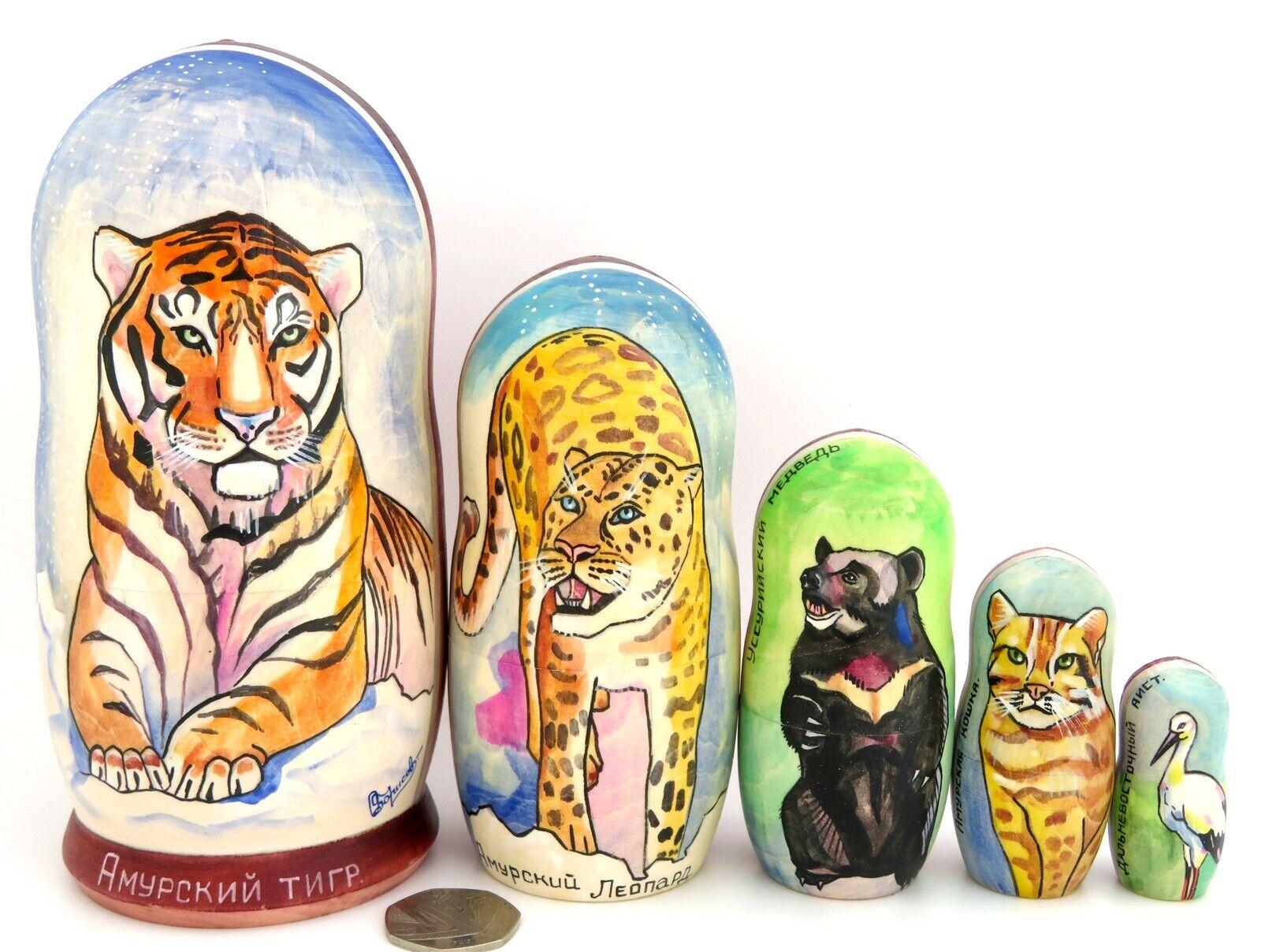 Matrioska  Amur Tigre Leopardo Orso Gatto Russa Bambole OPACO 5 Dipinto a uomoo  marca