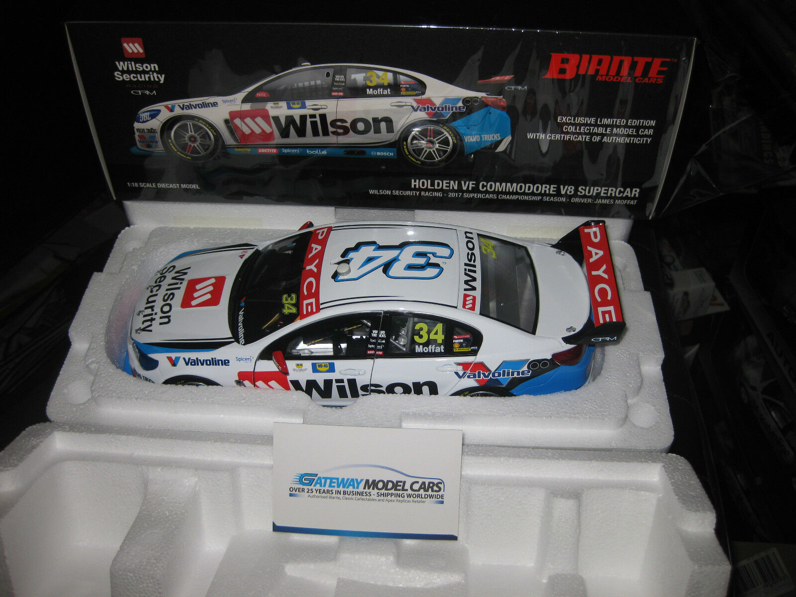 BIANTE 1 18 J MOFFAT HOLDEN COMMODORE 2017 V8 SUPERCAR GRM  34 WILSON SECURITY