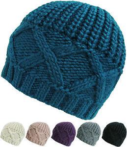 Womens Cross Knit Beanie Hats Winter Warm Wooly Beanies Ladies ... fccd15a6ba