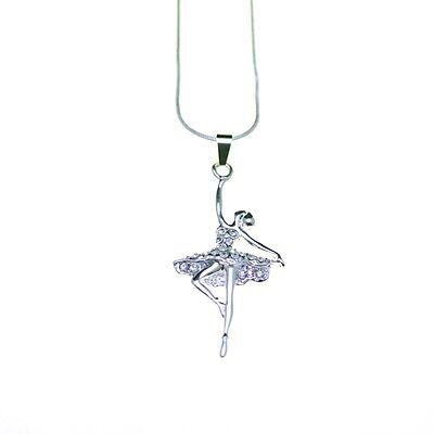 Niñas Moda Collares Con Incrustaciones De Cristal Colgante Señoras Plata Rosa Diamante