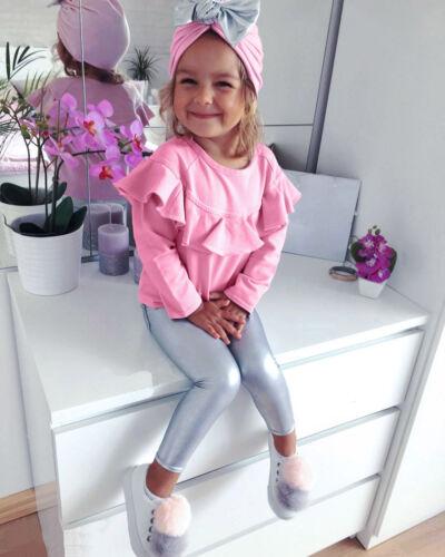 3PCS Enfant Fille T-shirt à manches longues Tops chapeau tenue vêtements 2018 pantalon