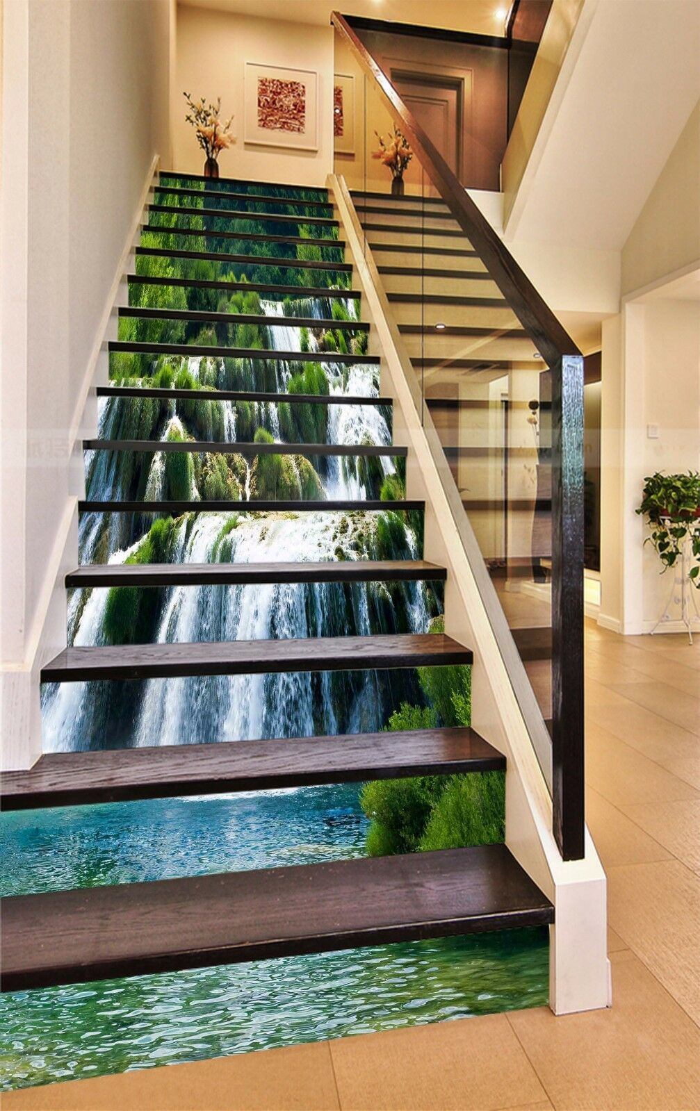 3D Waterfall Tree 8Stair Risers Decoration Photo Mural Vinyl Decal Wallpaper AU