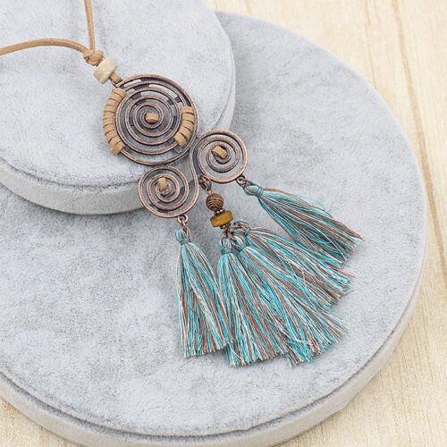 Women Boho Long Tassel Necklace Pendant Charm Sweater Chain Jewelry Accessories