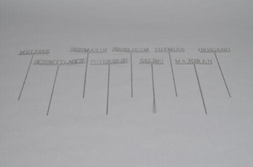 9x Kräuterschilder Kräuterstecker Metall Zink Schnittlauch Thymian