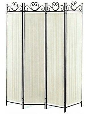 4-Panel Fabric and Metal Screen Room Divider Ivory and Black
