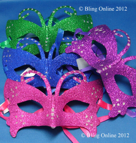 COLOURED GLITTER MASQUERADE FANCY DRESS PARTY BALL FACE MASK CARNIVAL NEW YEAR