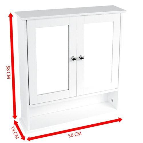 White Wooden Double Mirror Door Indoor Wall Mountable Bathroom Cabinet Shelf New