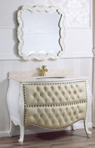 Details zu Badezimmer Kommode mit Spiegel Ramirez Shabby Chic Stil Badmöbel  gewölbt Antik w