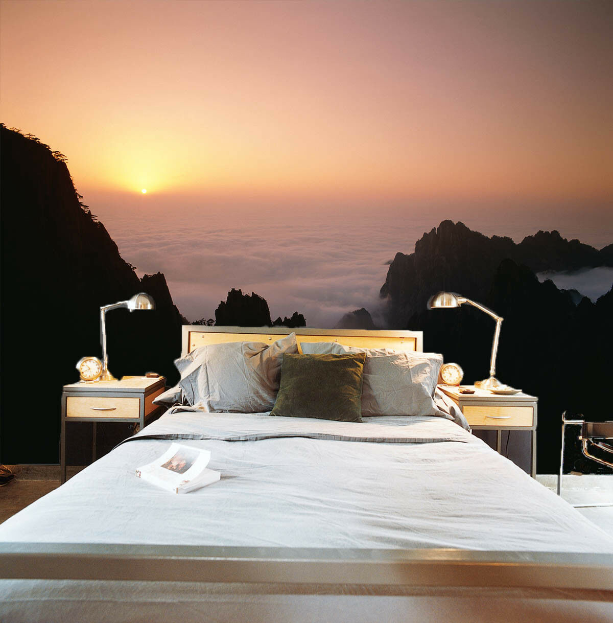 3D Sunrise Mountains 4 Wall Paper Wall Print Decal Wall Deco Indoor Mural Summer