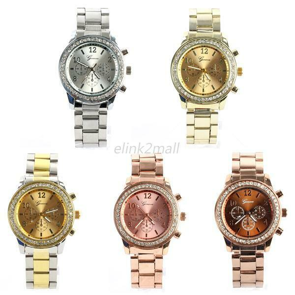 Women Men Bling Crystal Unisex Watches Charm Stainless Steel Quartz Wrist Watch