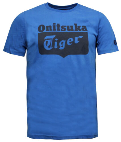 Onitsuka Tiger Logo Da Uomo Casual Manica Corta T-shirt Blu Top 121155 0819 M17