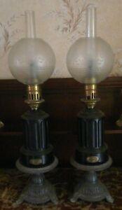Paire-de-Lampes-a-huile-empire-a-MODERATEUR-PERFECTIONNEE