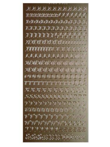 MINI CAPITAL SCRIPT LETTERS Peel Off Stickers 6mm Alphabet Uppercase Gold Silver