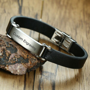 d28b000c48f49 Details about Retro Men Genuine Leather Bracelet Wristband Surfer Name  Engraving Personalized