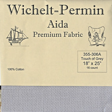 "Wichelt Imports Premium Cross Stitch Fabric Aida 16ct 18"" X 25"" Touch of Grey"