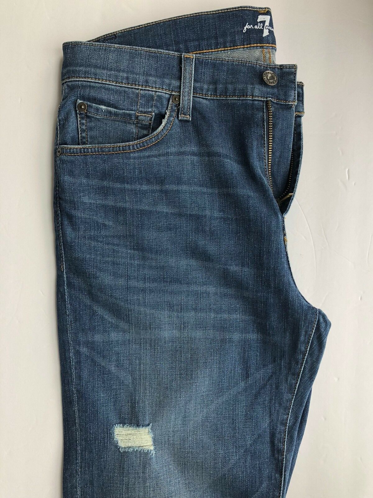 7 For All Mankind Slimmy in Beclow color bluee Medium Wash Stretchy Size 33