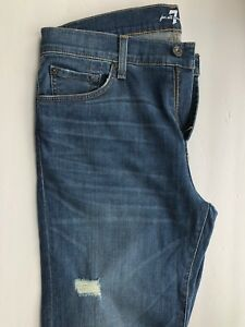 7-For-All-Mankind-Slimmy-in-Beclow-Color-Blue-Medium-Wash-Stretchy-Size-33