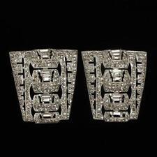 Unmarked Art Deco rhodium pave fur clips. Lot 13